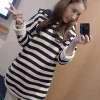 2013 autumn women's big size stripe with a hood loose t-shirt long-sleeve sweatshirt