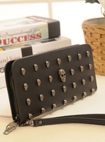 2012 wallet long design women's wallet vintage punk skull rivet day clutch