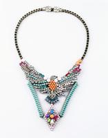 Retro color sweater Eagle Pendant Necklace