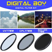 Camera & Photo! CPL 77mm Polarizing +UV Fiter+ND2-400 Neutral Density filter kit Protector for Canon Nikon Sony Olympus Camera