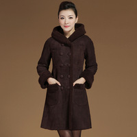 Fur one piece berber fleece sheepskin genuine leather clothing female medium-long slim leather clothing