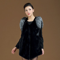2013 mink blue fox wool fur vest fur outerwear