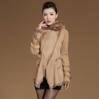 Berber fleece sheepskin fur one piece women's leather clothing 2013 genuine leather clothing