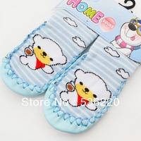 RETAILS, FREE SHIPPING! Kids slipper socks leather baby shoes frontier slip socks cartoon cotton warm elasticity shoes socks