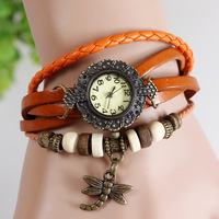 New 2013 Free Shipping Retro Genuine Cow Leather Quartz Dragonfly Charm Bracelet Watch  can Mix order white black brown 7 color