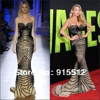 Blake Lively Red Carpet Mermaid Sweetheart Neck Black Stripe Celebrity Evening Dress
