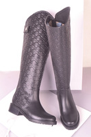 Fashion boots genuine leather boots high-leg flat heel back zipper boots embossed leather boots high quality
