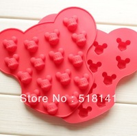 Min order $15 (mix order) Silicone Mold cute cartoon 16pcs Mickey shape mould Ice Cube Chocolate Cookie FDA grade free shipping