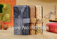 Free Shipping New Style The World Map Pattern Wallet PU Case for new sumsung note 3 N9000