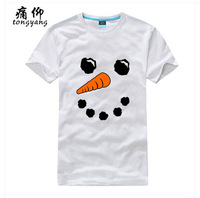 Chrismas Snowman face White Print T Shirt Male Men Women %100 Cotton Short sleeve Fashion Customize Grey T-Shirts Free Shipping