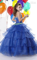 New Arrival Beautiful blue princess Halter Zipper Beading Ball Gown Lovely Flower Girl Dresses custom made