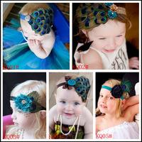 2013 new baby peacock feathers headband ,fashion feather headband flower 10pcs/set to sell