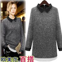 Cardigans NEW 2014 Europe and America Winter Fashion Women Sweater Long Sleeve Lapel Long Pattern Large Size Knit sweater