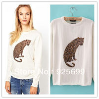 autumn winter women sweater cute leopard animal pattern o neck casual pullovers cool lady knit female coat white free shipping