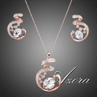 Unique Design Rose Gold Plated SWA ELEMENTS Austrian Crystal Necklace and Earrings Jewelry Set FREE SHIPPING!(Azora TG0058)