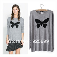 europe new style women winter sweater pullovers grey cute butterfly bow knot female knited cardigan lady loose casual outwear