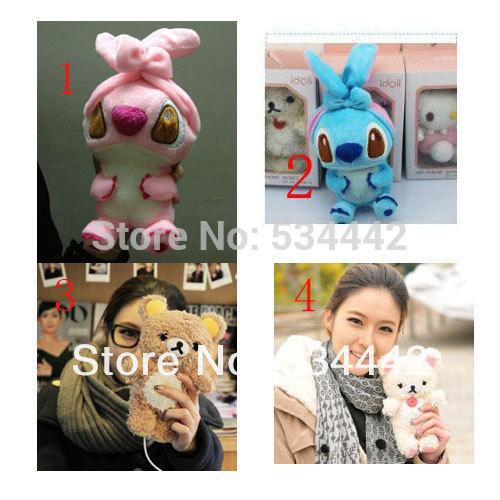 10pcs 3D Rilakkuma Bear/Stitch Lilo&Idoll case for iphone 4 4s 5 Cartoon Plush idoll cell phone case for iphone4 freeshipping(China (Mainland))