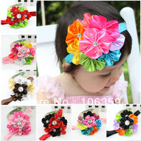 Multi Colored Flower Headbands for Baby Girl Shinning Crystal Toddler Hairband Newborn Infant Hair Accessory 20pcs HB007