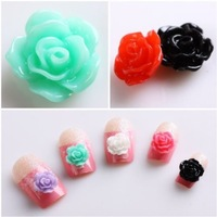 Free Shipping 20pcs Colorful Acrylic 3D Rose Flower Slices UV Gel Nail Art Tips DIY Decorations