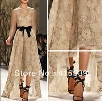 Monique Lhuillier Designer Golden Sleeveless See Through Lace Evening Dress Long Women WL239