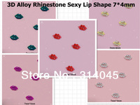 100PCS/LOT Wholesale U Pick Color 3D Alloy Rhinestone Sexy Lip Shape 7*4mm  Nail Art UV Gel Tips DIY Phone Craft Decoration