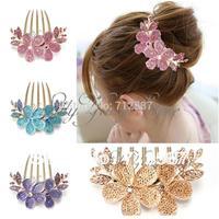 Charm Fashion Lady Girl Flower Pattern Alloy Rhinestone Barrette Hair Clip Comb free shipping  5443
