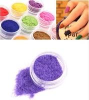 Free Shipping 12 Color Velvet Flocking Powder for Velvet Manicure Nail Art Polish Tips