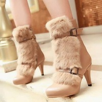 free shipping,$5 off per $100 order,SY7,size 34-43,leather&cony hair,warm lining,ankle boots shoes women high heel boots