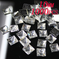 1000pcs free shipping  10mm  square shape flatback  rhinestone  resin beads silver foiled