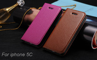 Vintage Luxury Busines thin genuine leather case for iphone 5C,Real cowhide Lichee Pattern stand Flip case for Apple 5c