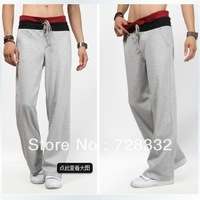 Hot free shipping top quality men's sports pants, pure color Korean Slim casual pants sports strap 4 colors S-XXL