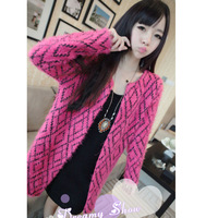 Women's 2013 autumn trend ladies plaid mohair cardigan female autumn and winter sweater outerwear