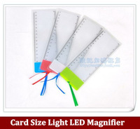 5pcs/lot Card Size Light LED Magnifier,Portable bookmarks ultra-thin Magnifying Glass Lens free shipping