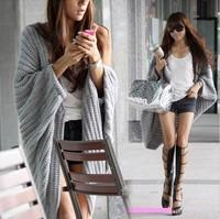 Free shipping   New 2013 Lady Batwing Casual Loose Sweater Coat Knitting Long Cardigan Shawl Outwear WC40