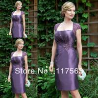 Elegant Sheath Cap Sleeve Lace Taffeta Knee Length Purple Mother Of the Bride Dress MQ045