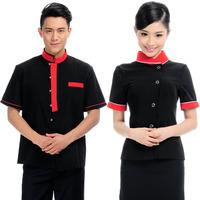 (10pcs-free ship) Uniform summer work wear short-sleeve work wear  hotel Restaurant clothing