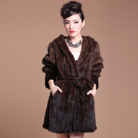 2014 Fashion Classic Women Warm Winter Hand knitted Mink Coat Slim Real Fur Coats For Ladies With Hooded Free Shipping