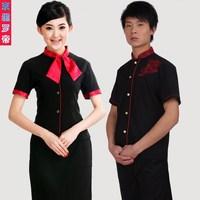 (10pcs-free ship) Work wear short-sleeve restaurant uniforms male summer work wear female work wear  Waiter uniforms