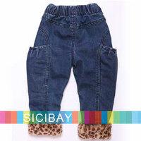 2014 Winter New Jeans Girls Leopard Style Warm Pants,Kids Trousers K3888