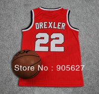Portland  #22 Clyde Drexler Au Basketball Jersey - Red/Black Drexler jersey au rev30 mix order size xs m l xl xxl xxxl