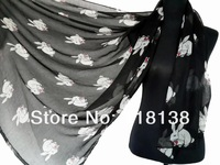 Fashion White Rabbit with Bow Print Scarf/ Wrap Over Sized  Voile Shawl Wrap , Free Shipping