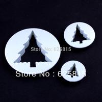 New 2014 3pcs/set Christmas Tree Cake Decorating Plunger Cutter Fondant Mold Sugar Craft DIY Tools 60-435