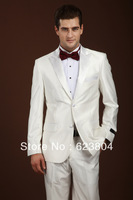 classic white elegant  men slim fit wedding party  suits shiny V-neck handsome  married suits with pants 2 buttons  tuxedo