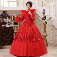 2013 winter new arrival red long-sleeve slit neckline fur collar thickening winter cotton wedding dress