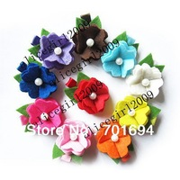 Wholesale - -girls hair bow hairbows hairband felt hairbows hairclips small flowers new style 50pcs/lot