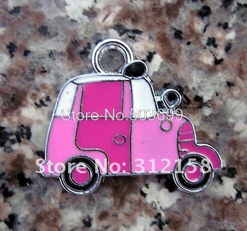Free Shipping 100Pcs/Lots Alloy Metal car charms enamel charms key charms 23x19mm(China (Mainland))
