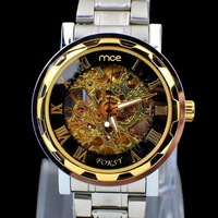 Fashion Gold watch dial Silvel stainless strap men business mechanical watches Free shipping!