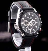 Casual fashion mechanical multifunction watch black Rubber strap male watches Free shipping!