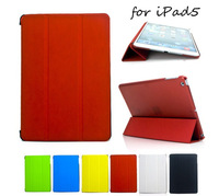 Transparent Back Case For iPad Air iPad5 Solid Color PU Leather Stand Case