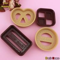 Free Shipping,Plastic Square/Rectangle/Circle/Heart-shaped 4PCS/set Cookie Cutter Set